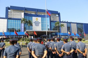 The Philippine National Police on its 24th Founding Anniversary on January 26, 2015 led by DILG Secretary Mar Roxas and PNP Officer-In-Charge Police Deputy Director General Leonardo Espina. (Photo by Toti Navales; PNP Facebook page)