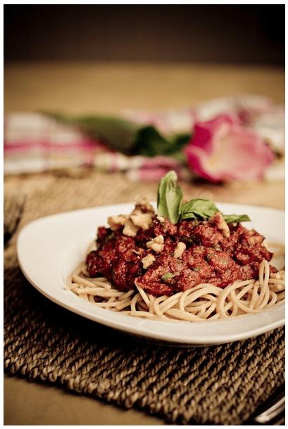 Tomato walnut basil pasta courtesy of Oh She Glows.