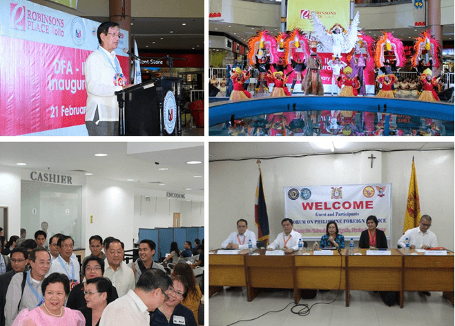 (Clockwise from top left) Undersecretary Seguis delivers his remarks during the inauguration ceremony; Tribu Panayanon's Ati-atihan spirited performance entertains the guests during the inauguration ceremony; DFA Officials engage students of University of San Agustin in a lively lecture and discussion; Undersecretary Rafael Seguis leads the inspection of the DFA RCO Iloilo office and facilities.