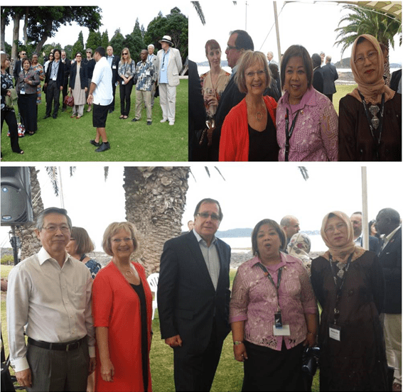 (Left photo above) Philippine Ambassador Virginia H. Benavidez with members of the Diplomatic Corps (photo courtesy of Pakistan High Commission). (Right photo above, from left)  German Ambassador Dr. Anne-Marie Schleich, Philippine Ambassador Virginia H. Benavidez and Malaysian High Commissioner Rosmidah binti Zahid (photo courtesy of Indonesian Embassy). (Photo below) Singapore High Commissioner Peter Chan Jer Hing, German Ambassador  Dr. Anne-Marie Schleich, Minister of Foreign Affairs Murray McCully, Philippine Ambassador Virginia H. Benavidez and Malaysian High Commissioner Rosmidah binti Zahid (photo courtesy of Indonesian Embassy).