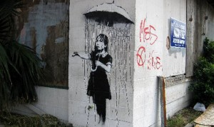 "Banksy's ""Umbrella Girl"" in New orleans"