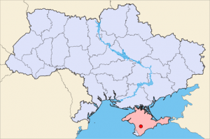Simferopol on a map of Ukraine (blue) in Crimea (pink). (Wikipedia photo)