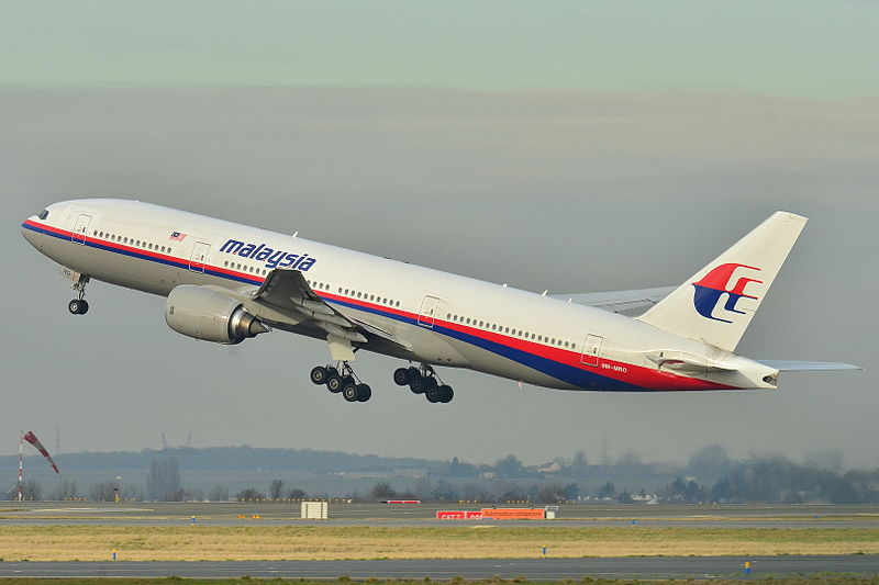 The last photo taken of the Boeing 777 9M-MRO of Malaysian Air, the missing aircraft flight 370, in 2011 at the Charles de Gaulle Airport in France. (Wikipedia photo)