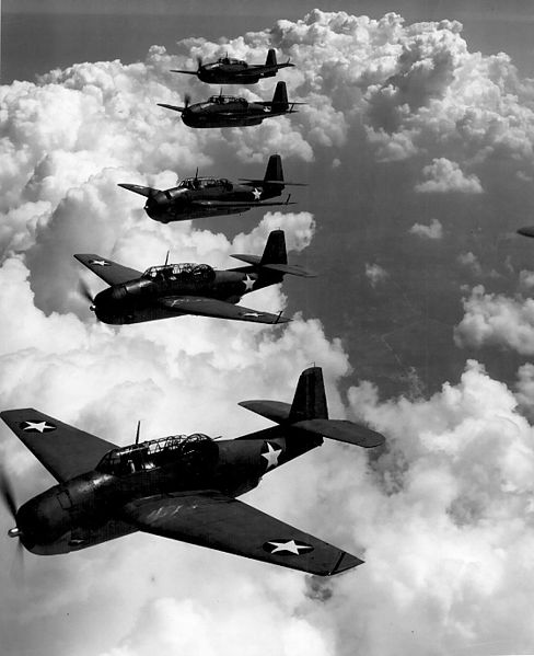 US Navy Avengers, similar to those of Flight 19, five bomber planes that disappeared in the Bermuda Triangle in 1945. (Wikipedia photo)