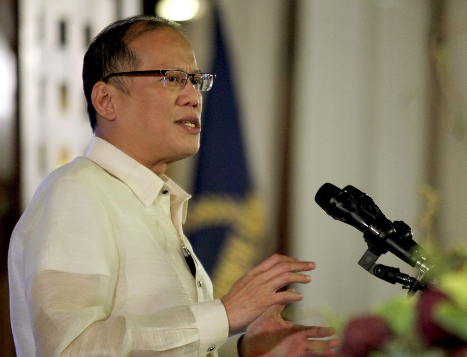President Benigno S. Aquino III delivers his message during the Asian Development Bank (ADB) Reception at the ADB Headquarters in ADB Avenue, Mandaluyong City on Wednesday night (March 12). (Photo by Gil Nartea / Robert Viñas / Malacañang Photo Bureau)