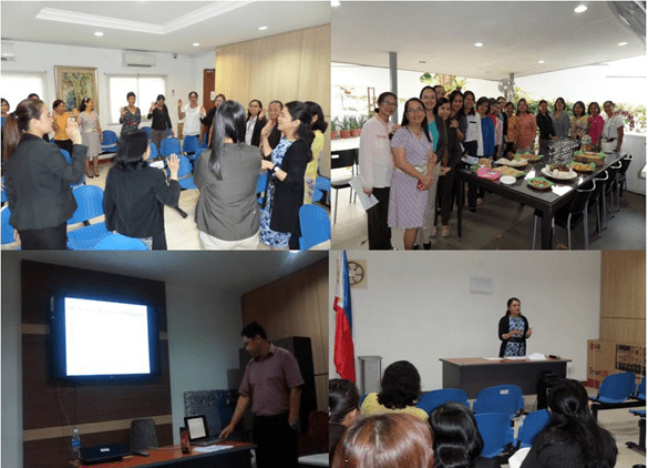 Officers and staff of the Philippine Embassy in Singapore and the attached agencies are seen here participating in talks on women's rights and issues to celebrate the International Women's Month on 7 and 31 March 2014.
