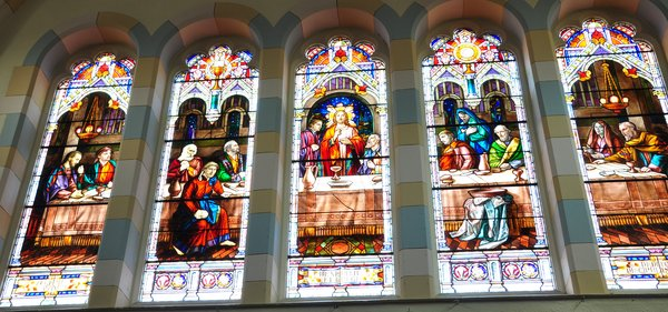 Stained glass at Corpus Christi by GavinB