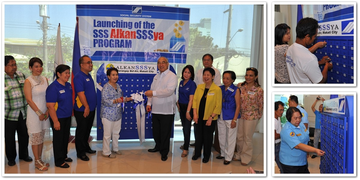Photo shows SSS President de Quiros (5th from right) and Brgy. Chairman Lichauco (5th from left) cutting the ceremonial ribbon unveiling the AlkanSSSya unit. Also witnessing the event were (from left): Engr. Fernando Vitug II; Brgy. Councilor Cynthia D. Cervantes; SSS AlkanSSSya Program Director Amalia N. Tolentino; SSS Makati-JP Rizal Branch Head Fernando F. Nicolas; SSS Assistant Vice President for NCR South Division Ma. Lourdes T. Flores; and Brgy. Councilors Noel J. Bautista (at back), Ma. Teresa Colayco; Conchita A. Caluag; and Aileen T. Dionisio. Photos at the right side show barangay workers dropping their first few savings in their respective AlkanSSSya units.