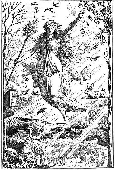 Ostara (1884) by Johannes Gehrts. The goddess  Eostre flies through the heavens surrounded by Roman-inspired putti, beams of light, and animals. Germanic people look up at the goddess from the realm below.(Wikipedia photo)