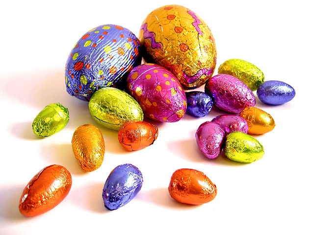 Chocolate Easter eggs; among our favourite Easter treats! (Wikipedia photo)