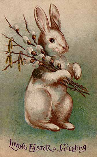 A 1907 postcard featuring the Easter Bunny. (Wikipedia photo)