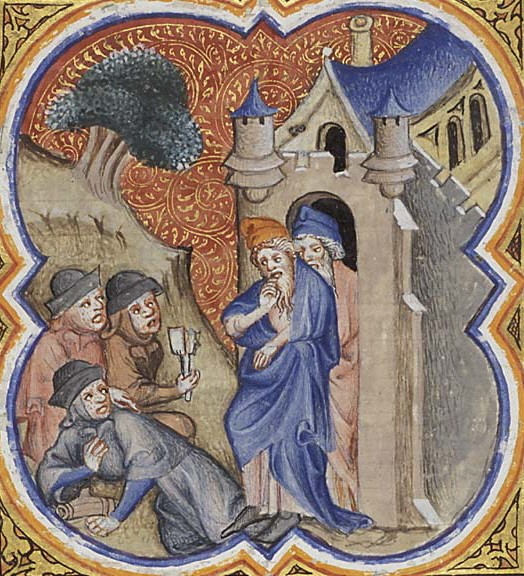 Four lepers bring the news to the guards at the gate of Samaria; by the illustrator of Petrus Comestor's 'Bible Historiale', France, 1372; Miniature; at the Museum Meermanno Westreenianum, The Hague  (Wikipedia photo)