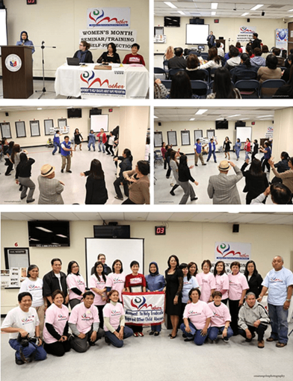 (Top photo left) Acting Head Consulate General Imelda Panolong addressing the audience and seated (Left to right) Grants and Communications Manager Jessy Needham, MOTHER, President Rosemarie Mejia and MOTHER, Founder Perla Ryes; Ms. Jessy Needham presenting; (Middle photos) MOTHER Board Members (in blue) Mr. Jess Espanola and Mr. Nestor Ylagan demonstrating simple Self-Defense techniques; (Bottom photos) 5th frm L-R) Grants and Communications Manager Needham, Cultural Officer Wilma Bautista, MOTHER Founder Reyes. Acting Head of Post Panolong, MOTHER President Mejia with members of MOTHER and personnel of the Consulate General