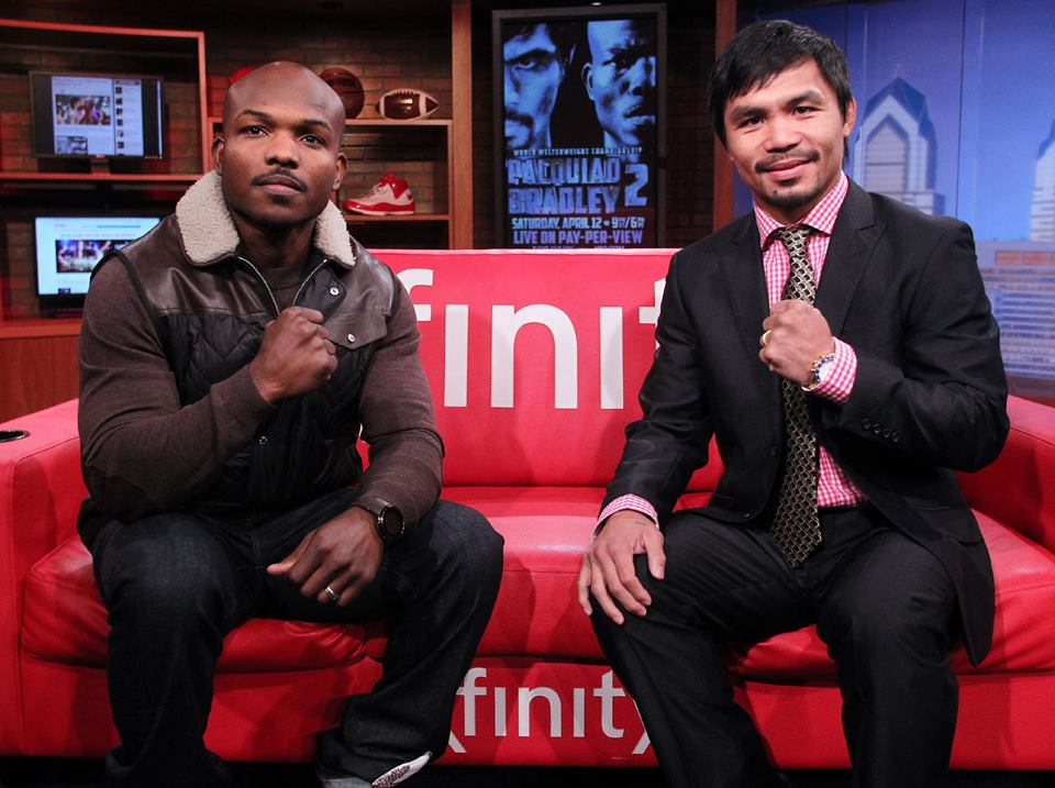 Timothy Bradley and Manny Pacquiao. Photo by Chris Farina / Manny Pacquiao official Facebook page