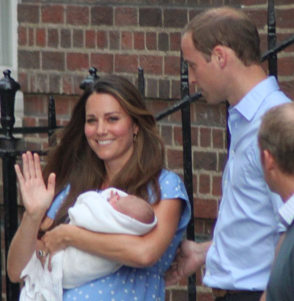 The Duke and Duchess of Cambridge with their son the day after his birth (Wikipedia photo)