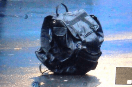 The bag left at the Boston Marathon finish line, which led to the bombing incident (screenshot)