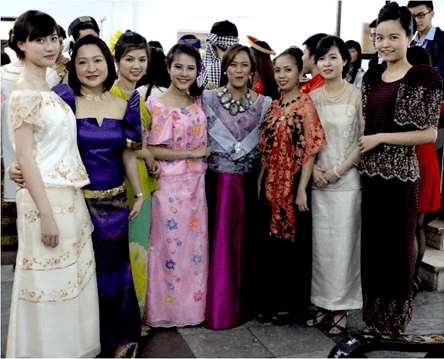 (From left) Ms. Nguyen Thi Lan Huong, Ms. Carolina Tsukamoto, Ms. Mai Anh Thu, Ms. Regina Holli, Ms. April Paste, Ms. Le Thuy Nga and Ms. Hanh Nguyen Nguyen in traditional Filipiniana attire.