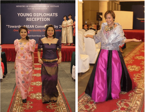 (Left photo)  Ms. Mai Anh Thu and Ms. Carolina Tsukamoto in colorful Filipiniana gowns with butterfly sleeves. (Right photo) Ms. Regina Holli in an appealing Maria Clara gown.