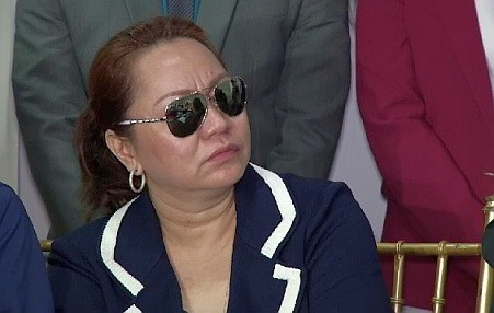 Alleged pork barrel scam mastermind Janet Lim Napoles at a press conference before her arrest.