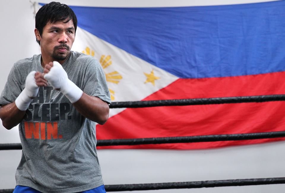 Manny Pacquiao at the Wildcard Gym. Photo by Chris Farina / Manny Pacquiao official Facebook page
