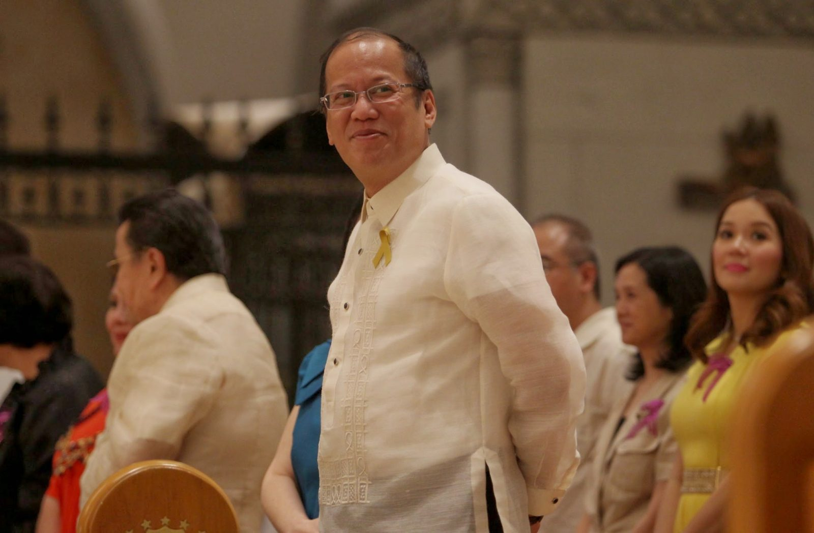 President Benigno S. Aquino III attends the Thanksgiving Mass for the reopening of the Cathedral Basilica of the Immaculate Conception (Manila Cathedral) in Cabildo corner Beaterio, Intramuros, Manila City on Wednesday night (April 9). Photo by Roberto Viñas / Malacañang Photo Bureau.
