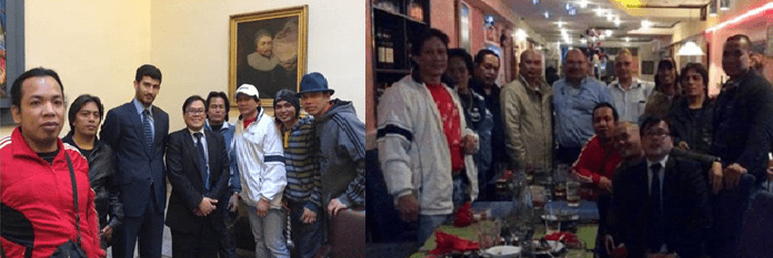Filipino seafarers from MV B Lady Bug with at the Fenech and Fenech law office in Valletta, Malta with Consul Enrique V. Pingol (center) and Marine Litigation Lawyer, Atty. Adrian Attard (3rd from left) for the settlement of unpaid wages and allowances; Filipino seafarers from MV B Lady Bug at dinner with Consul Enrique V. Pingol (seated front), Mr. Kevin Attard, incoming Philippine Consul, a.h., to Malta and Mr. Paul Falzon of ITF-Malta (5th and 6th from left).