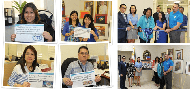 (Clockwise from left) Philippine Consulate General in San Francisco personnel hold signs with information on autism.  (Photo collage courtesy of www.photovisi.com); Consul Reginald Bernabe, Consul Reichel Quiñones, Judge Betty Buccat, Consul Leah Rodriguez and Mr. Thomas Natale; Officers of Consulage GEneral and representatives of Autism Hearts Foundation join with Ms. Jo Anne Kyle and Ms. Alma Hwelgas of the ABS-CBN Foundation during the formal opening of the World Autism Awareness Day Art Exhibit.