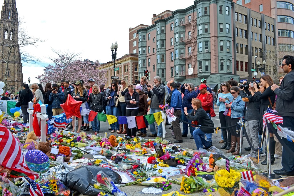 People poured over the memorial set up on Boylston Street in Boston, USA on April 20, 2013. File photo by fmua / Shutterstock