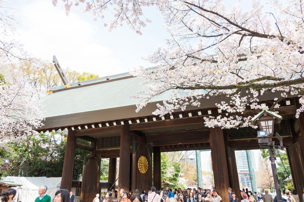 Yasukuni Shrine is visited by up to 300 thousand people for annual Sakura Festival (April 2, 2014). Photo by beibaoke / Shutterstock