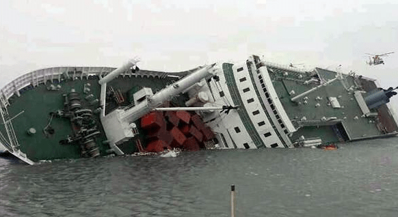 Capsized South Korean ferry. TWITTER PHOTO