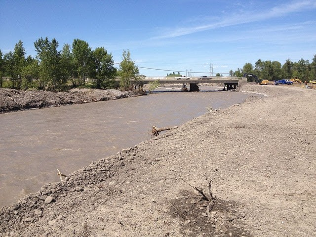 Flood waters washed out 100 metres of the Sheep River crossing in June 2013.