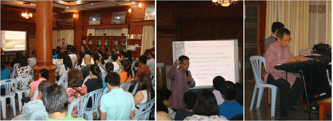 (Left and middle photos)  Professor Felipe de Leon, Chairman of the National Commission on Culture and the Arts, speaks before the Filipino community in Laos.  (Right photo) Professor de Leon plays popular Filipino music before the crowd.