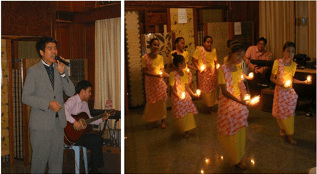 "(Left photo) Embassy's Vice Consul Jose Carlo Morales serenades the crowd with his rendition of OPM song ""Your Love.""  (Right photo) Filipino community kids to the floor with their dance ""Pandanggo sa Ilaw"" as part of the evening's cultural programme under Sentro Rizal."
