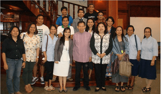Embassy officers and staff, led by Philippine Ambassador to Laos Maria Lumen B. Isleta (4th, left) and Filipino community members take time to pose with Prof. Felipe de Leon, Jr. (center).  NCCA Deputy Executive Director Marlene Ruth Sanchez also joins them(2nd row, rightmost).