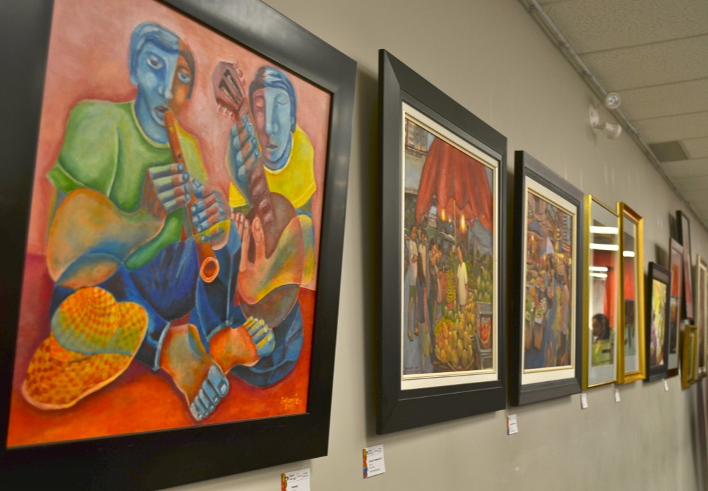 Some of the paintings on display for Sining