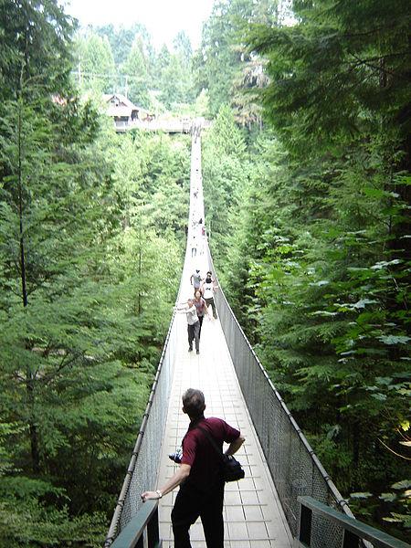 Feel the thrill of crossing Vancouver's famous Capilano Suspension Bridge. (Wikipedia photo)