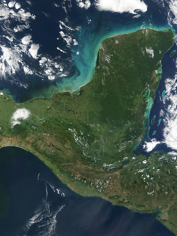 Yucatan peninsula. Photo from NASA / Wikimedia Commons.