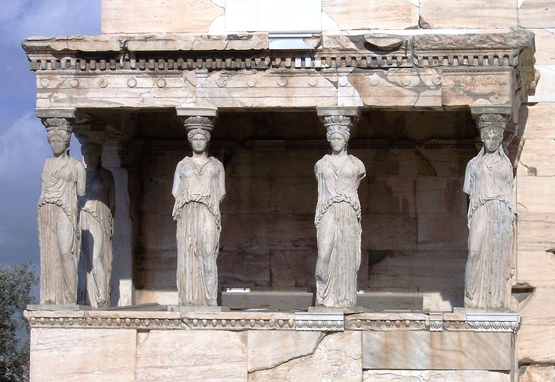 Image of Porch of the Caryatids which is part of the Erechtheum at the Acropolis in Athens, Greece. Photo by Psy guy / Wikimedia Commons.