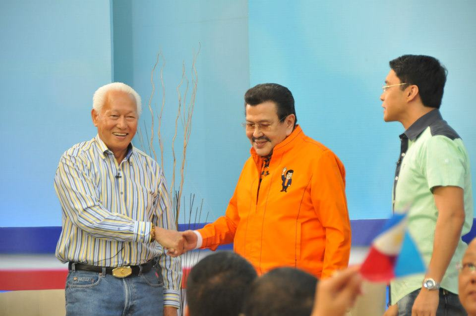 Former Manila Mayor Alfredo S. Lim (left) and current Manila Mayor and former president Joseph 'Erap' Estrada after a campaign debate mediated by broadcaster Anthony Taberna. Photo courtesy of Alfredo Lim's official Facebook page.