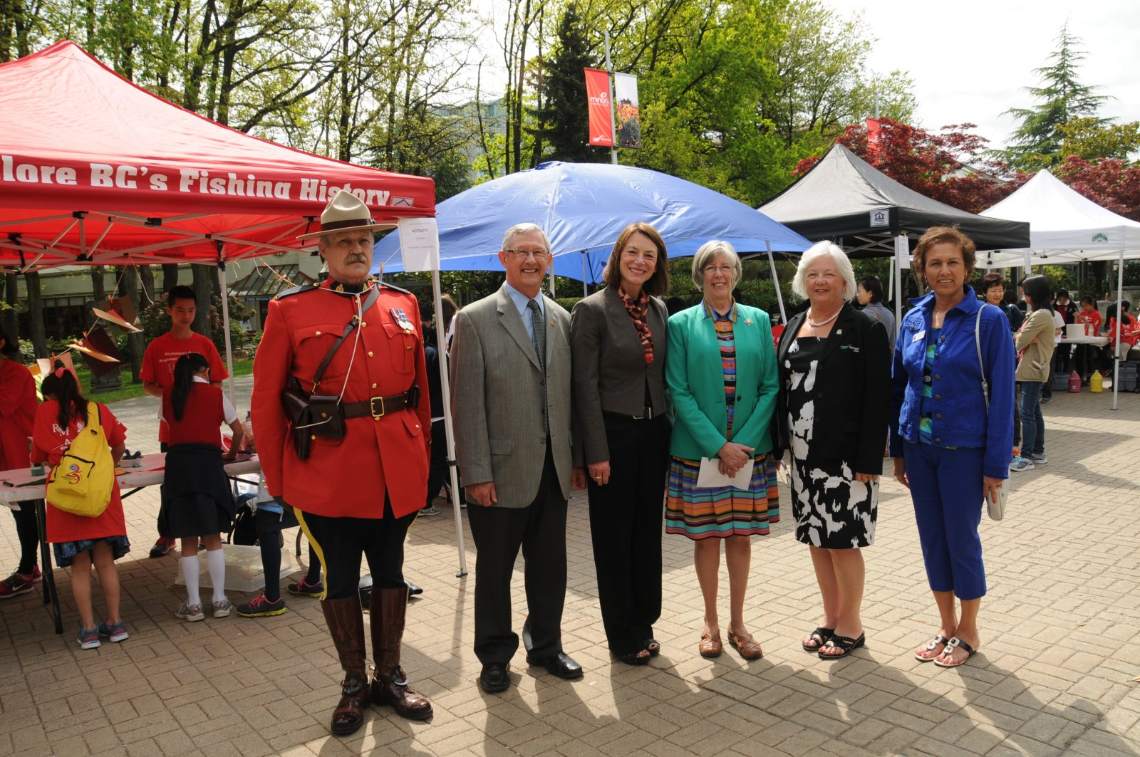 From left to right – RCMP Cst. Barry Edwards, Richmond Councillor Bill McNulty, Delta's Acting Mayor Jeannie Kanakos, Lieutenant Governor of BC - the Honourable Judith Guichon, OBC, Richmond's Acting Mayor Linda Barnes, Richmond Councillor Linda McPhail