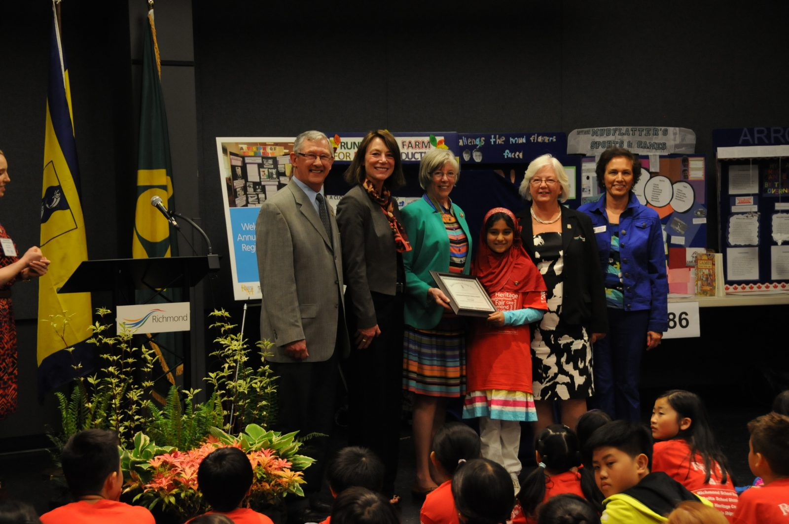 Richmond Councillor Bill McNulty, Delta's Acting Mayor Jeannie Kanakos, The Honourable Judith Guichon, Dania Rashid (Gr. 5, from Gibson Elementary in Delta), Richmond's Acting Mayor Linda Barnes and Richmond Councillor Linda McPhail.