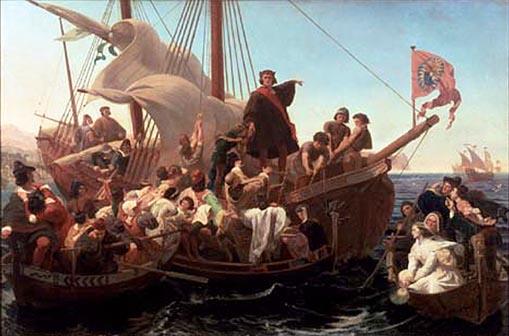 Christopher Columbus on Santa María in 1492 (Wikipedia photo)