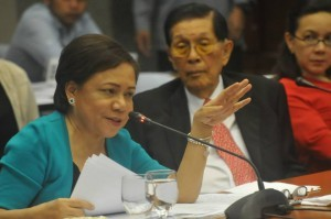 Sen. Cynthia Villar (Senate Minority Leader Juan Ponce Enrile in the background). Photo from  Villar's Facebook page.