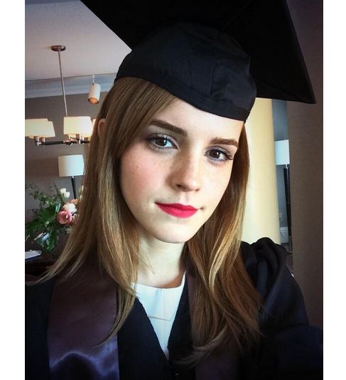 Actress Emma Watson graduated from Brown University today. Photo courtesy of @EmWatson / Twitter