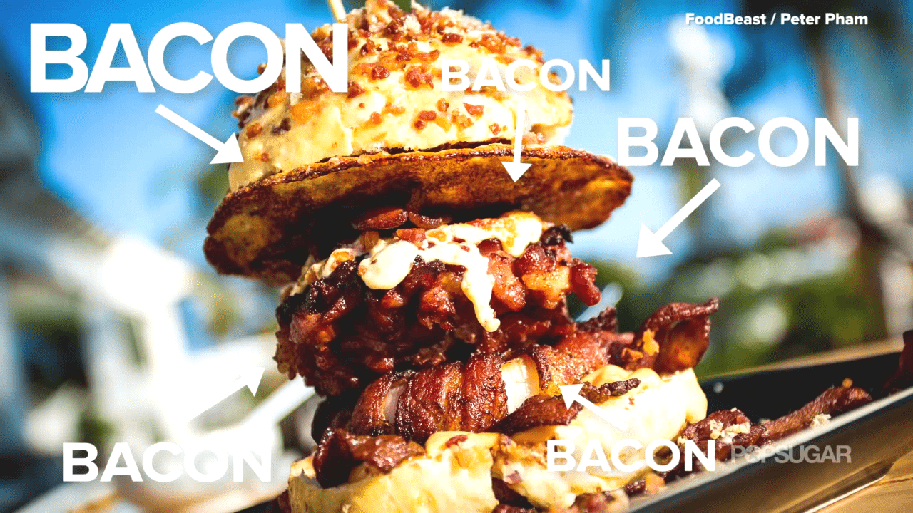 SCREENSHOT FROM POPSUGAR VIDEO: Everything Bacon Burger