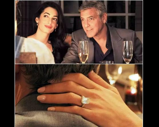 George Clooney with fiancee Amal Alamuddin and the S450,000 engagement ring. Twitter photo