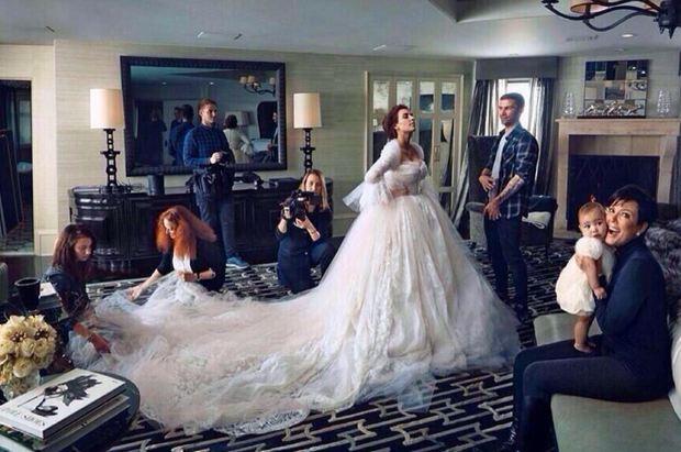 Kim's wedding dress (magazine spread). Photo courtesy of @stalkedbieber / Twitter