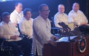 President Benigno S. Aquino III delivers his speech during the The Outstanding Filipino 2013 Awarding Ceremonies at the Insular Life Auditorium, Insular Life Corporate Center, Filinvest Corporate City in Alabang, Muntinlupa City on Wednesday (January 29). (Photo by Ryan Lim / Malacañang Photo Bureau)