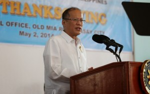 President Benigno S. Aquino III delivers his speech during the Civil Aviation Authority of the Philippines (CAAP) Thanksgiving Celebration 2014 at the CAAP Covered Court, CAAP Central Office in Old MIA Road, Pasay City on Friday (May 02). (Photo by Lauro Montellano Jr. / Malacañang Photo Bureau)