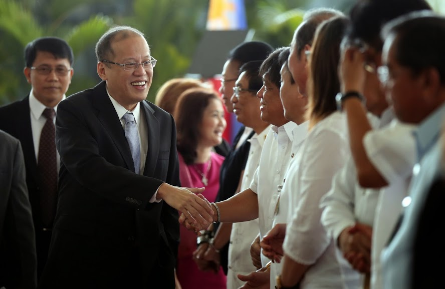"President Benigno S. Aquino III greets his Cabinet members during the send-off ceremony at the Departure Area of the Ninoy Aquino International Airport Terminal II in Pasay City on Saturday (May 10) to join fellow Association of Southeast Asian Nations (ASEAN) Leaders at the 24th ASEAN Summit in Nay Pyi Taw, Republic of the Union of Myanmar. ""Moving Forward in Unity to a Peaceful and Prosperous Community"" is the theme for this year's ASEAN Summit, highlighting the importance of a united ASEAN. (Photo by Lauro Montellano, Jr. / Malacañang Photo Bureau)"